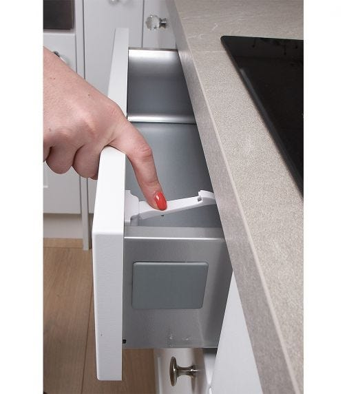 CLIPPASAFE Drawer & Cupboard Spring Latches -  2 Pieces Per Pack (White)
