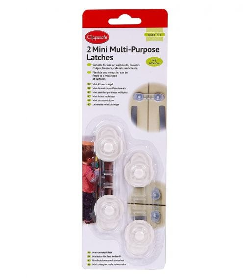 CLIPPASAFE Mini Multi-Purpose Latches - 2 Pieces Per Pack