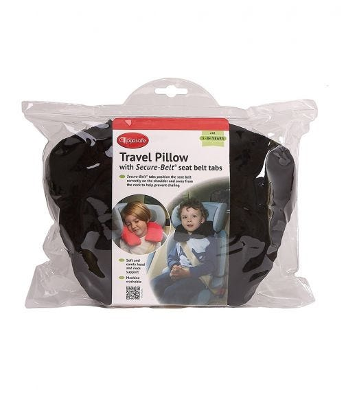 CLIPPASAFE Travel Pillow With Secure-Belt Tabs - For Ages 1-3 Years