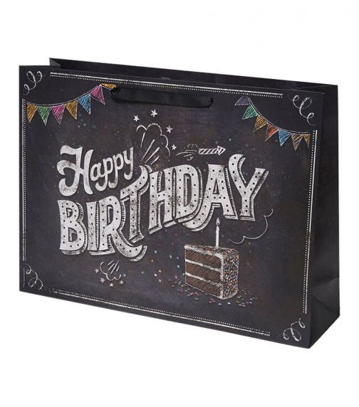 LEGAMI Gift Bag - Large - Happy Birthady Chalkboard