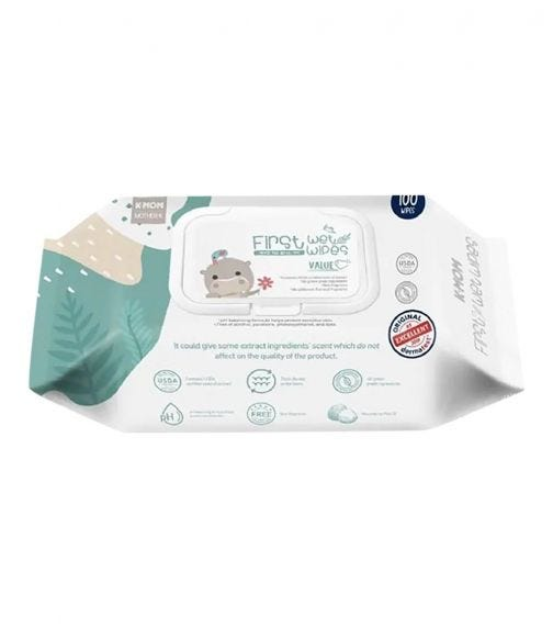MOTHER K First Wet Wipes With Cap - Value - 100 Pieces