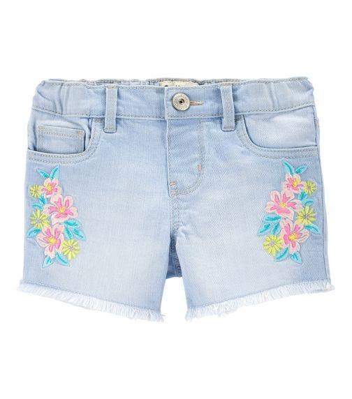 OSHKOSH Embroidered Floral Stretch Denim Shorts