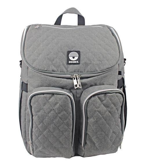 DOOKY Diaper Backpack 2-In-1 - Grey Melange