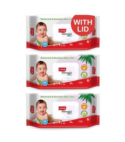LUVLAP Paraben Free Baby Wipes With Aloe Vera, With Fliptop Lid (72 Wipes/Pack) (Pack Of 3)