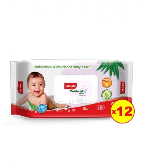 LUVLAP Paraben Free Baby Wipes With Aloe Vera, With Fliptop Lid (72 Wipes/Pack) (Pack Of 12)