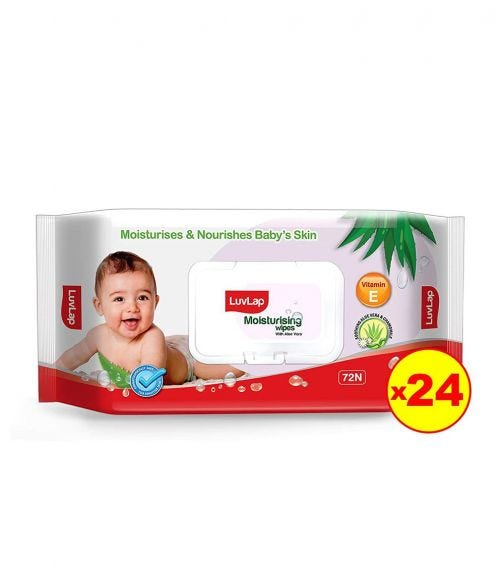 LUVLAP Paraben Free Baby Wipes With Aloe Vera, With Fliptop Lid (72 Wipes/Pack) (Pack Of 24)