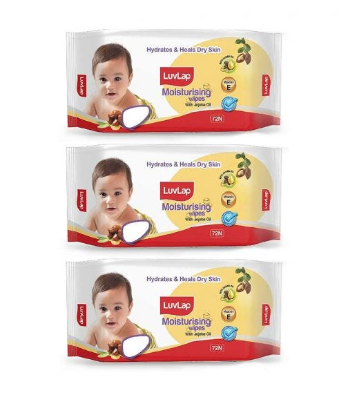 LUVLAP Paraben Free Baby Wipes With Jojoba Oil (72 Wipes/Pack) (Pack Of 3)
