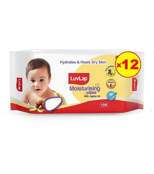 LUVLAP Paraben Free Baby Wipes With Jojoba Oil (72 Wipes/Pack) (Pack Of 12)