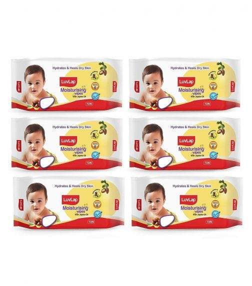 LUVLAP Paraben Free Baby Wipes With Jojoba Oil (72 Wipes/Pack) (Pack Of 6)