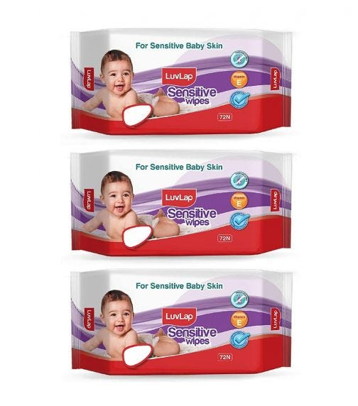 LUVLAP Paraben Free Baby Wipes For Sensitive Skin, Fragrance Free (72 Wipes/Pack) (Pack Of 3)