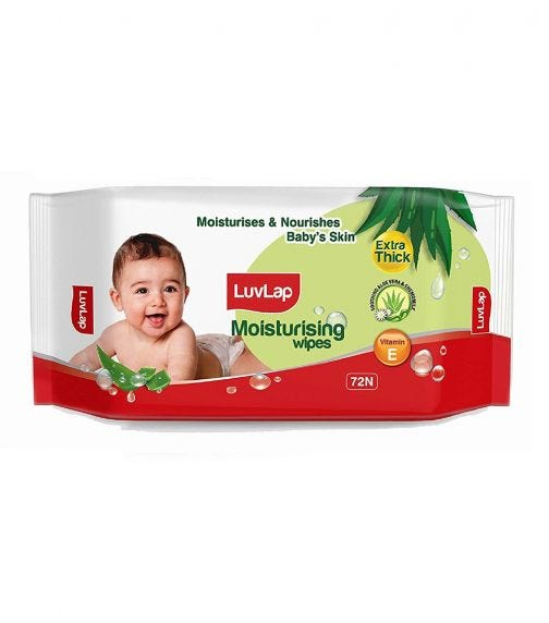 LUVLAP Paraben Free Extra Thick Baby Wipes With Aloe Vera (72 Wipes/Pack)