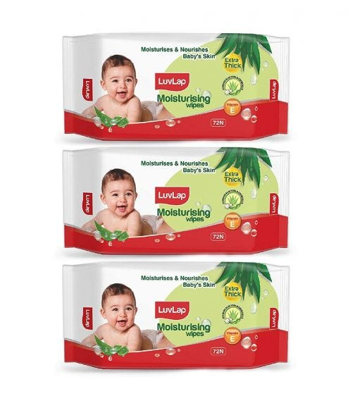 LUVLAP Paraben Free Extra Thick Baby Wipes With Aloe Vera (72 Wipes/Pack) (Pack Of 3)