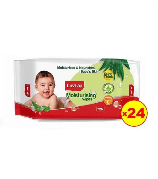 LUVLAP Paraben Free Extra Thick Baby Wipes With Aloe Vera (72 Wipes/Pack) (Pack Of 24)