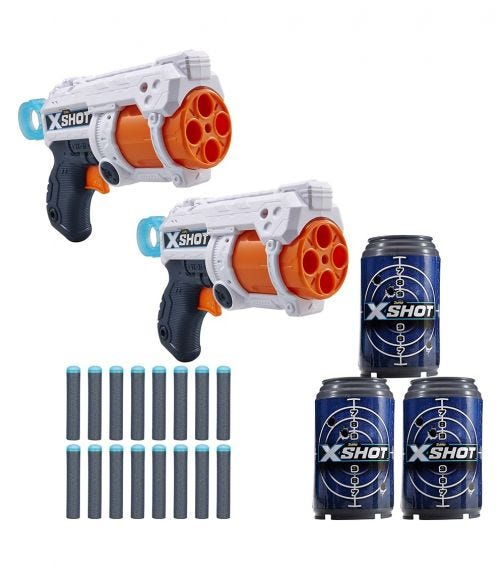 X-SHOT -  MK 3 Double Pack (2 Shooters, 3 Cans & 16 Darts)