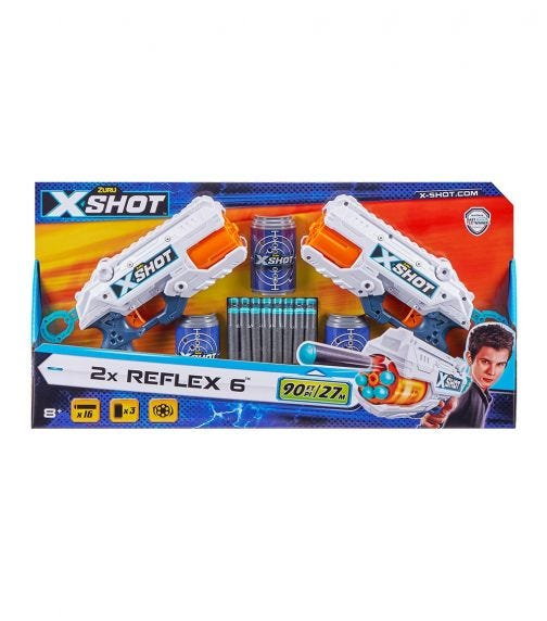 X-SHOT - Excel - Reflex 6 Double Pack (2 Shooters, 3 Cans & 16 Darts)
