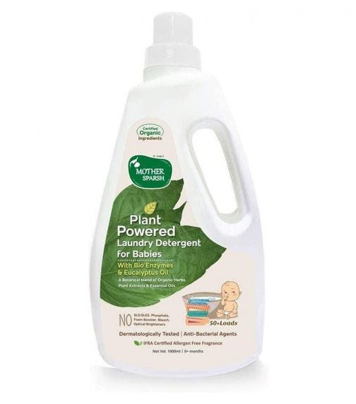 MOTHER SPARSH Baby Laundry Liquid Detergent (Powered By Plants) With Bio - Enzymes And Eucalyptus Oil, 1 Liter