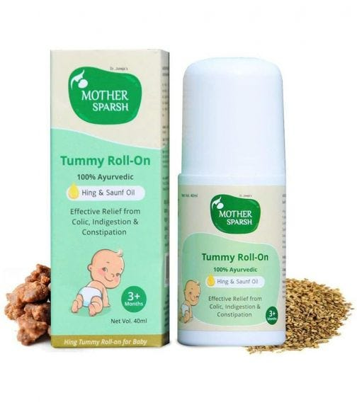 MOTHER SPARSH Tummy Roll On For Baby, Colic Relief And Digestion, 100% Ayurvedic, Hing & Saunf, 40 ML