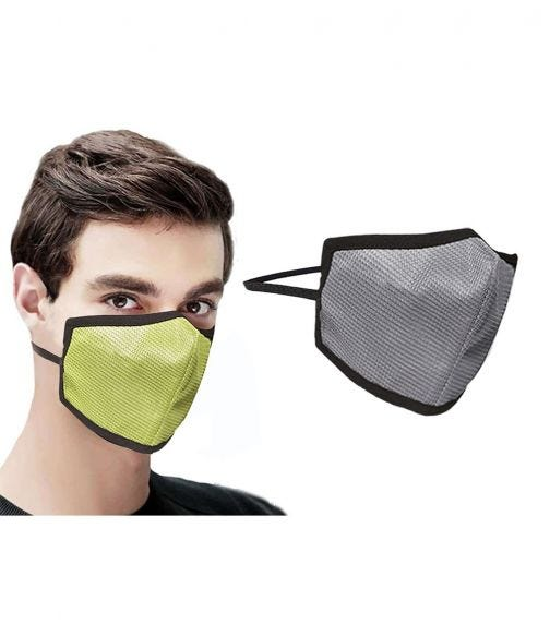 SWAYAM Reusable 4-Layer Outdoor Protective Face Mask - Pack Of 2 (Gray/Green)
