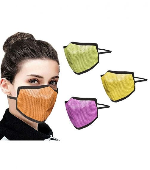 SWAYAM Reusable 4-Layer Outdoor Protective Face Mask - Pack Of 4 (Orange/Green/Yellow/Pink)