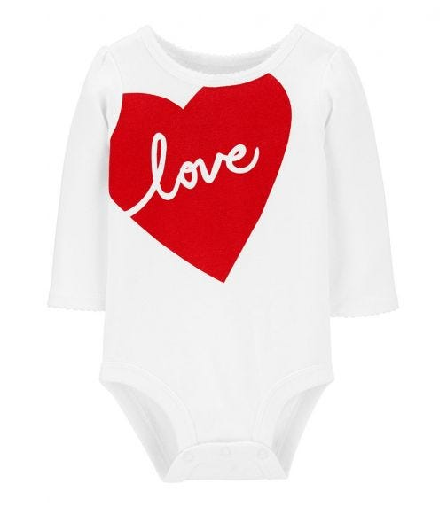 CARTER'S Love Heart Valentine's Day Collectible Bodysuit