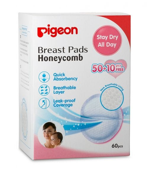 PIGEON Breast Pads (Honey Comb) - 50 + 10 Pieces