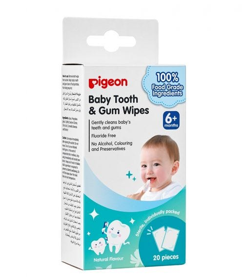 PIGEON Baby Tooth & Gum Wipes - Natural - 20 Pieces