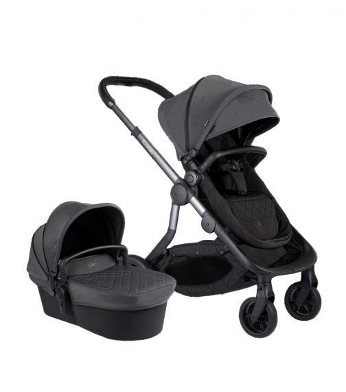 iCANDY Orange Combo Charcoal - Seat & Carry Cot + Car Seat Adaptor