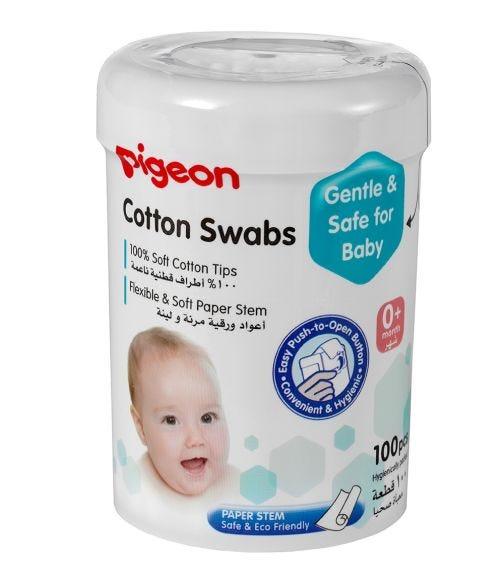 PIGEON Soft Paper Stem Cotton Swabs - 100 Pieces