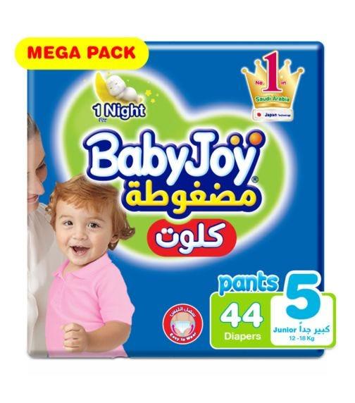 BABYJOY Cullotte Pants Diaper, Mega Pack Junior Size 5, Count 44, 12 - 18 Kg