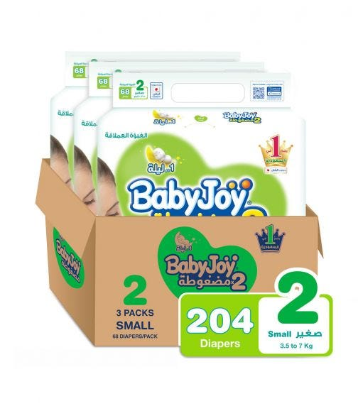 BABYJOY 2X Compressed Diaper, Jumbo Pack (Small) Size 2, Count 204, 3.5 - 7 KG