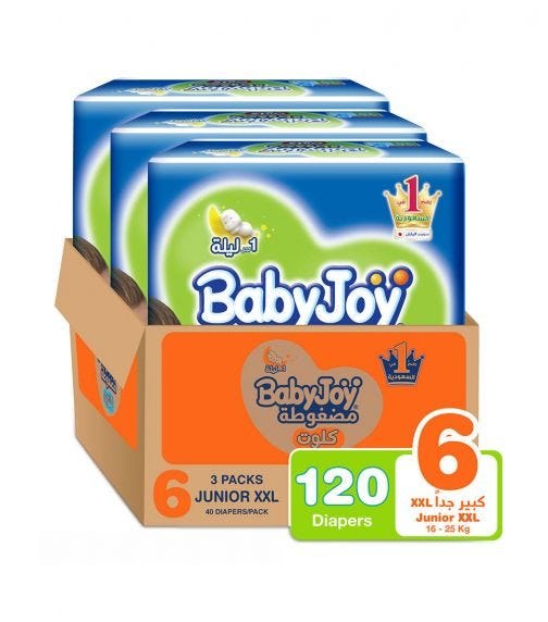 BABYJOY Cullotte Pants Diaper, Mega Pack Junior (Extra Extra Large), Size 6, Count 120, 16+ Kg