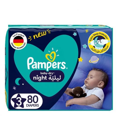 PAMPERS Baby-Dry Night Diapers - Size 3, 7-11 KG - 80 Pieces