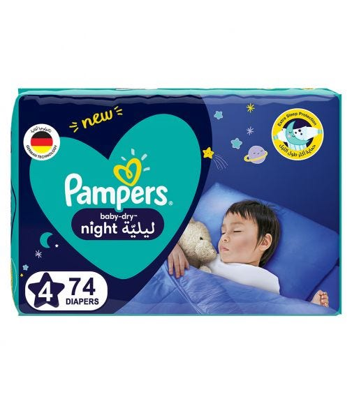 PAMPERS Baby-Dry Night Diapers - Size 4, 10-15 KG - 74 Pieces