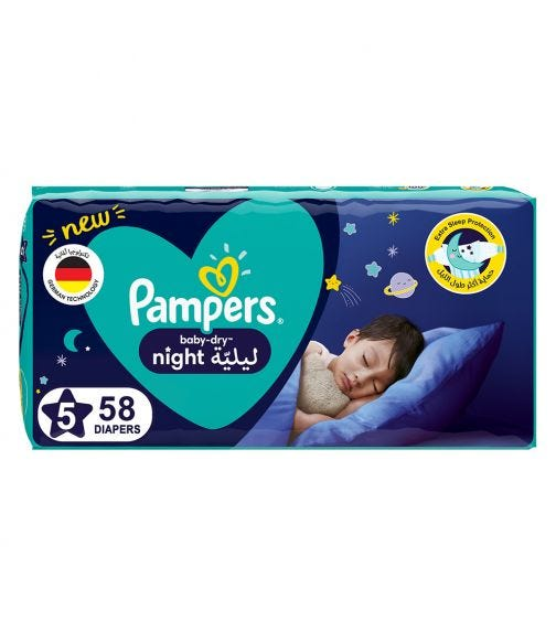 PAMPERS Baby-Dry Night Diapers - Size 5, 12-17 KG - 58 Pieces