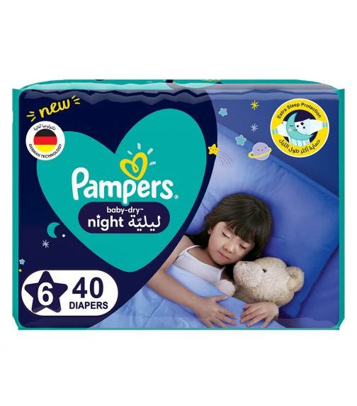 PAMPERS Baby-Dry Night Diapers - Size 6, 14+ KG - 40 Pieces