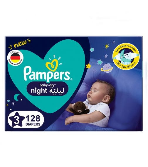 PAMPERS Baby-Dry Night Diapers - Size 3, 7-11 KG - 128 Pieces