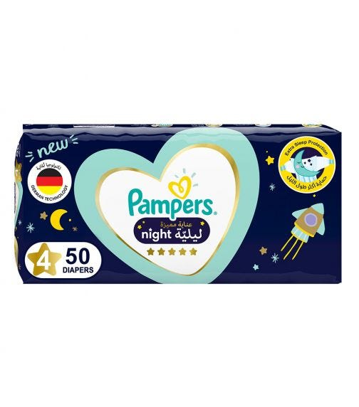 PAMPERS Premium Care Night Diapers - Size 4, 10-15 KG - 50 Pieces