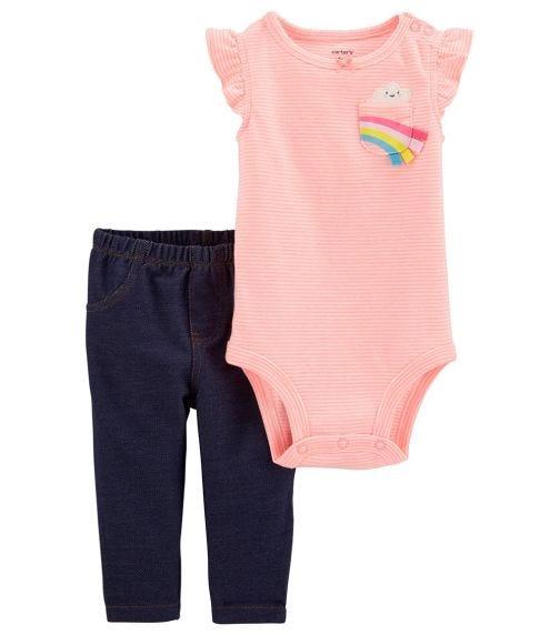 CARTER'S 2-Piece Striped Rainbow Bodysuit Pant Set