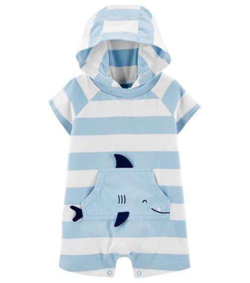 CARTER'S Striped Shark Jersey Romper
