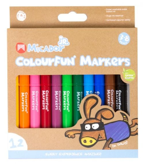 MICADOR Colourfun Markers, Box Of 12 Colors For Kids