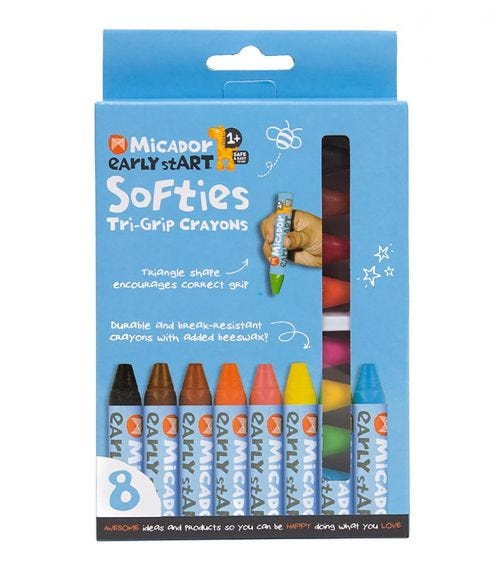 MICADOR Softies Tri-Grip Crayons (Pack Of 8) Early Start Series