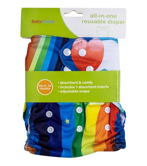 BABY VISION Reusable Diaper All-In-One -  Rainbow Printed