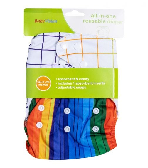 BABY VISION Reusable Diaper All-In-One - Pencil Printed