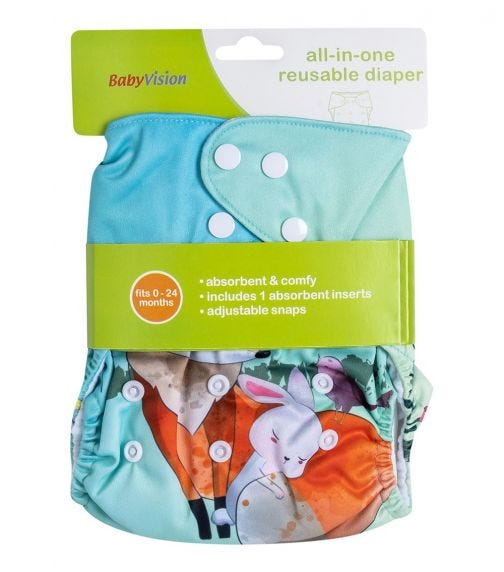 BABY VISION Reusable Diaper All-In-One -  Fox Printed