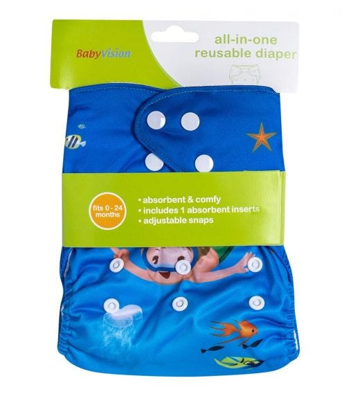 BABY VISION Reusable Diaper All-In-One - Divine Printed