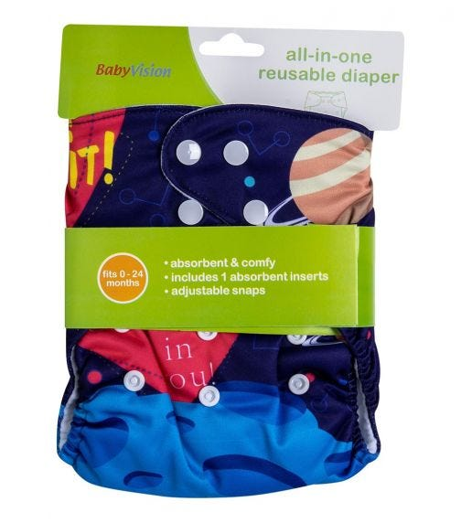 BABY VISION Reusable Diaper All-In-One - Planet Printed