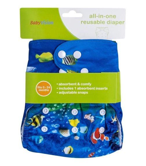 BABY VISION Reusable Diaper All-In-One - Aqua Fish Printed
