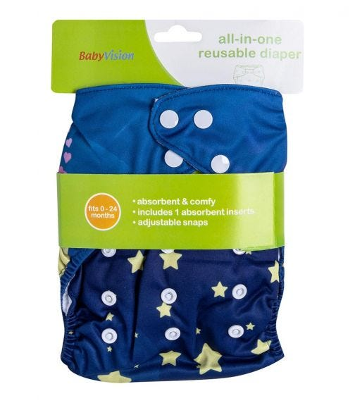 BABY VISION Reusable Diaper All-In-One - Stars Printed