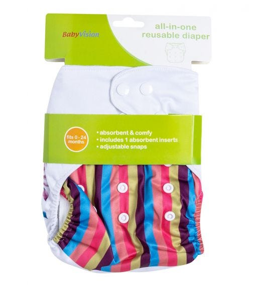 BABY VISION Reusable Diaper All-In-One - Horse Printed