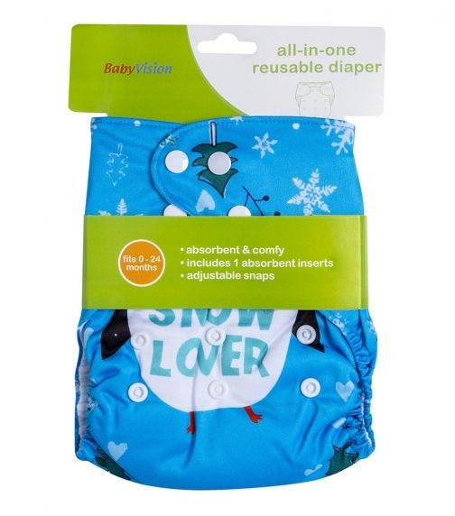 BABY VISION Reusable Diaper All-In-One - Snow Printed